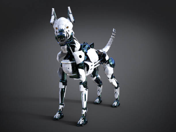 3D rendering of a futuristic robot dog. stock photo
