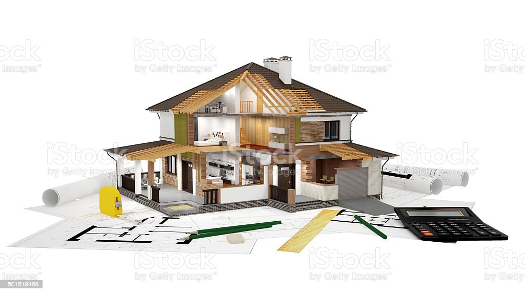 3D rendering of a house on top of blueprints stock photo