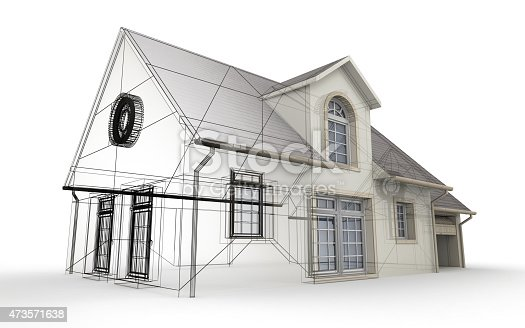 845440944istockphoto 3D rendering of a house project, showing different design stages 473571638