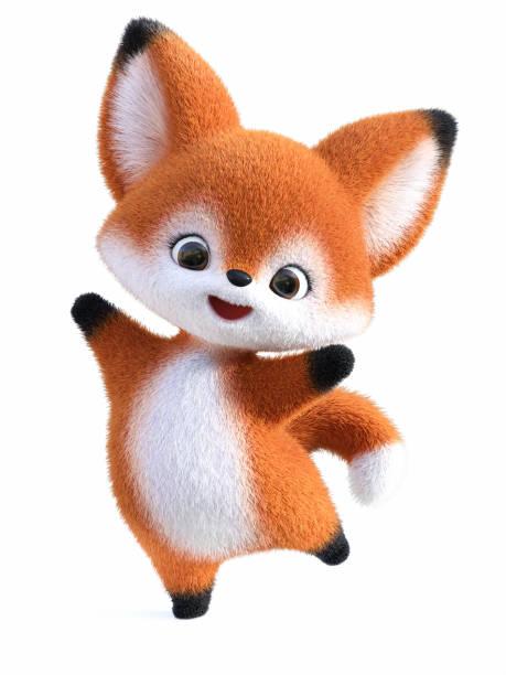 3D rendering of a kawaii cartoon fox jumping for joy. stock photo