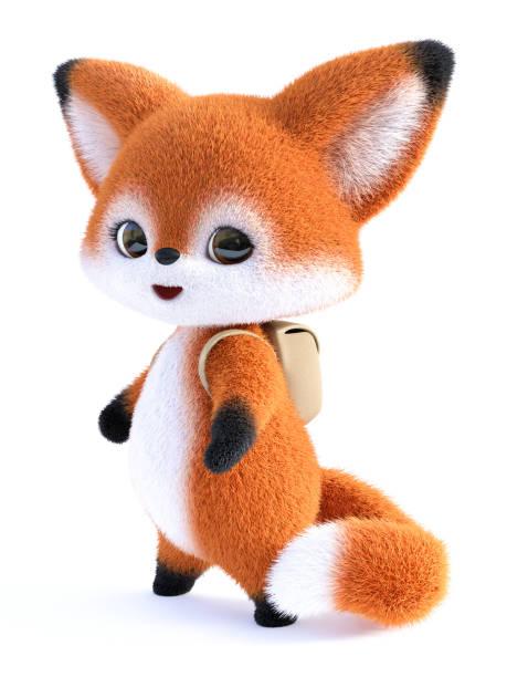 3D rendering of a kawaii cartoon fox wearing backpack. stock photo