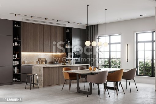 3D rendering of a kitchen bay and dining area in living room. Large and luxurious interiors of a living room with attached kitchen and dining table.