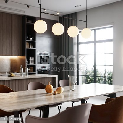 Luxurious interiors of kitchen and dining table. 3D rendering of a kitchen bay and dining area in living room.