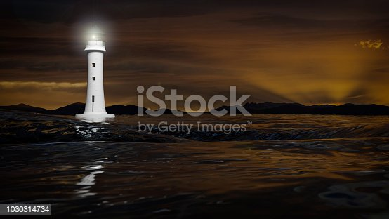 istock 3D rendering of a lighthouse and dark sea waters in dusk, seascape 1030314734