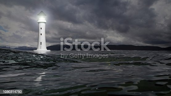 istock 3D rendering of a lighthouse and sea waters on stormy day, seascape 1030314750