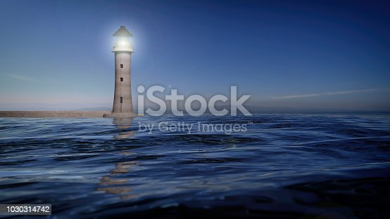 istock 3D rendering of a lighthouse and sea waters, seascape 1030314742