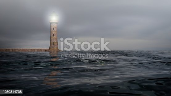 istock 3D rendering of a lighthouse and sea waters with cloudy sky, seascape 1030314738