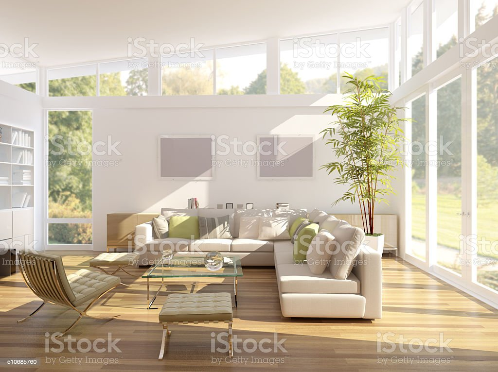 3D rendering of a living room stock photo