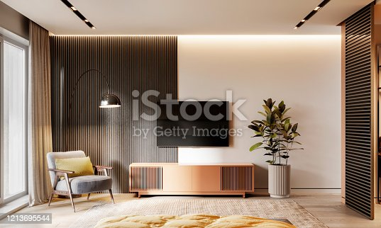 Interior of a bedroom with armchair and tv on wall. 3D rendering of a luxurious bedroom interior.