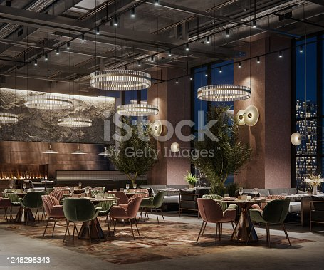 Digitally generated image of a large restaurant interior under lights. 3D rendering of a luxury restaurant interior at night.