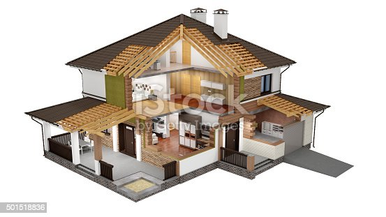 173620207 istock photo 3D rendering of a  modern house 501518836
