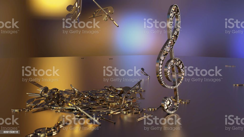 3D rendering of a musical treble clef and falling notes stock photo