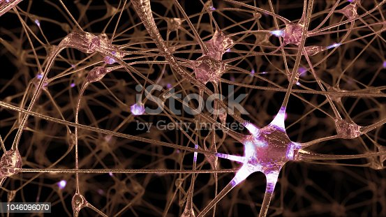 istock 3D rendering of a network of neuron cells and synapses in the brain through which electrical impulses and discharges pass 1046096070