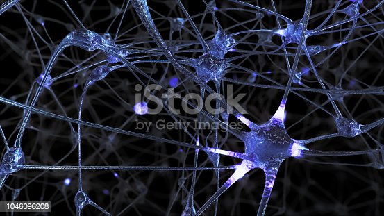 istock 3D rendering of a network of neuron cells and synapses in the brain through which electrical impulses and discharges pass 1046096208