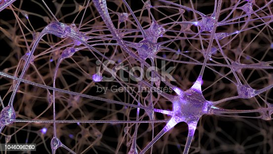 istock 3D rendering of a network of neuron cells and synapses in the brain through which electrical impulses and discharges pass 1046096260