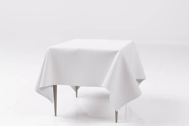3d rendering of a photo realistic empty table - tovaglia foto e immagini stock
