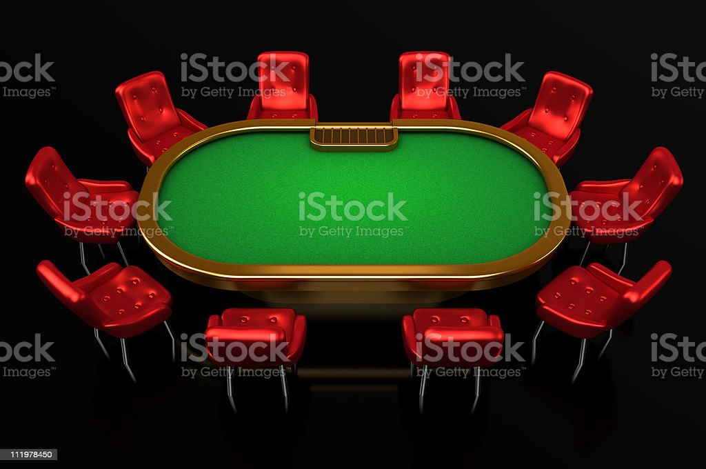 3D rendering of a poker table with red chairs stock photo