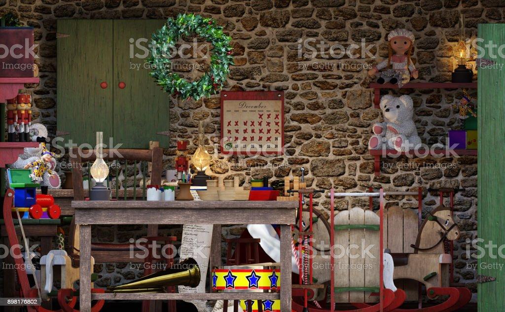 Rendu 3D de l'atelier de Noël d'un père Noël - Photo
