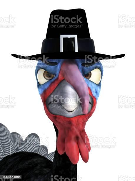 Rendering of a silly angry toon turkey wearing pilgrim hat picture id1064454554?b=1&k=6&m=1064454554&s=612x612&h=awa2z3qaoayac7wae5ji9qltpizyuknftd9eblfvx00=