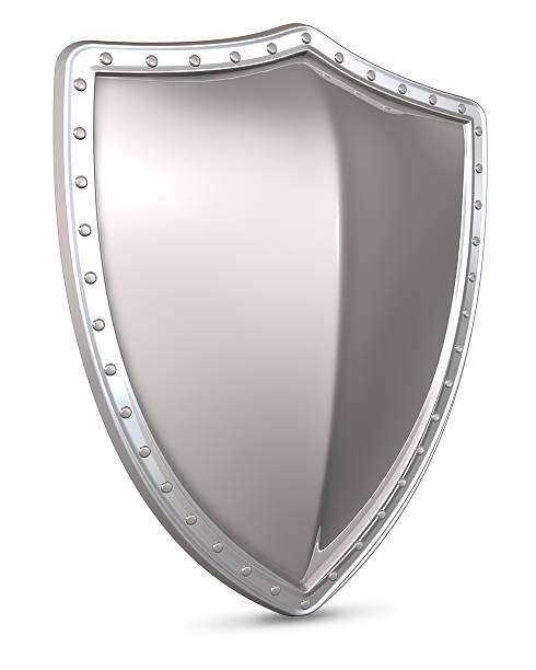 3D rendering of a silver shield on a white background stock photo