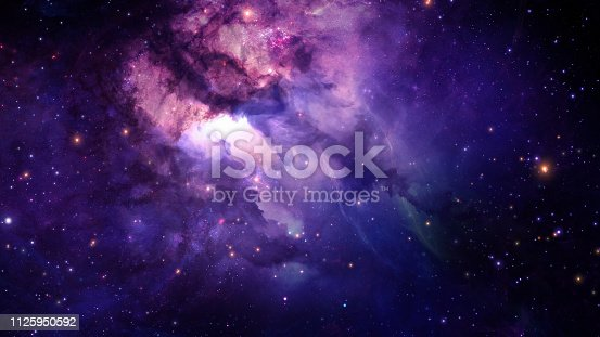 istock 3D rendering of a stellar nebula and cosmic dust, cosmic gas clusters and constellations in deep space. Elements of this image furnished by NASA 1125950592