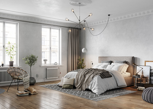 3D rendering of large bedroom. Computer generated image of a luxurious and elegant bedroom interiors from an old turn of the century apartment.