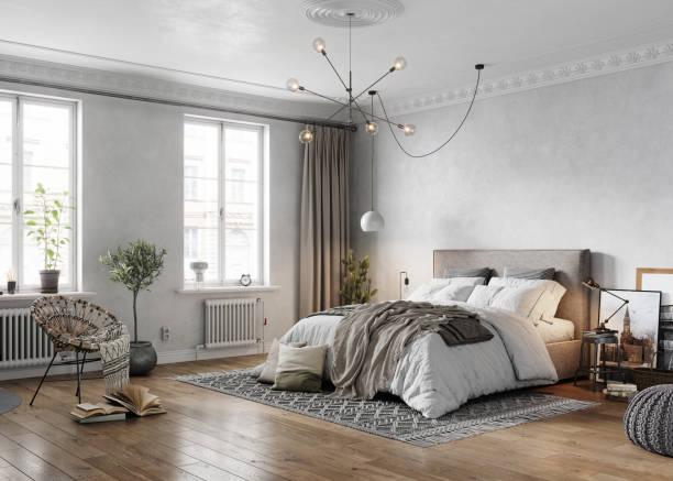 3d-rendering eines traditionellen schlafzimmers der jahrhundertwende - schlafzimmer stock-fotos und bilder