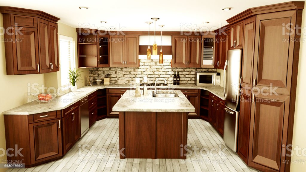 3D Rendering of a Traditional Kitchen Interior vector art illustration