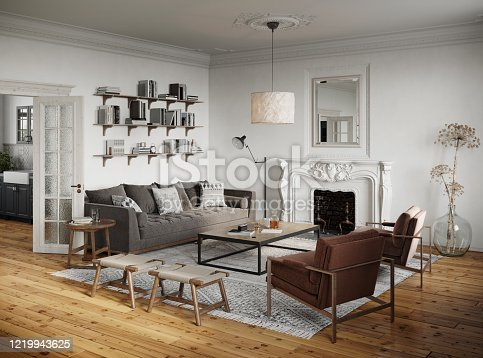 3D rendering of a traditional style living room. Luxurious interiors of a living room.