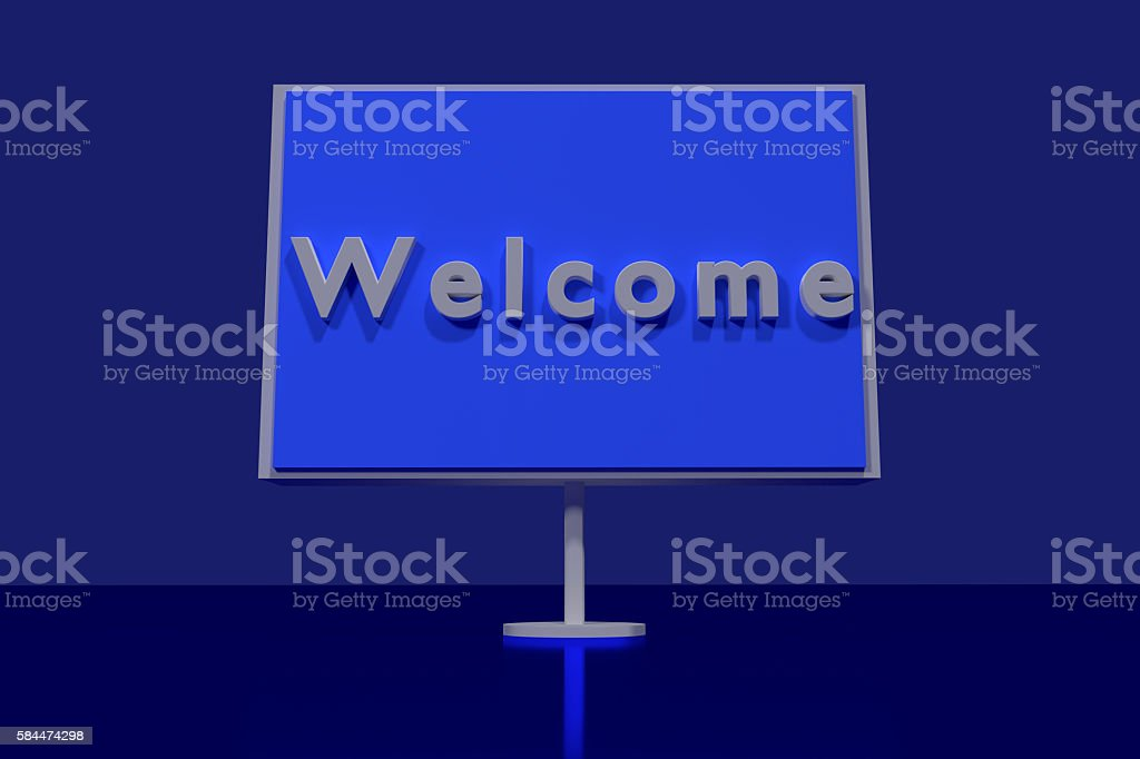 3D rendering of a traffic sign with the word Welcome stock photo
