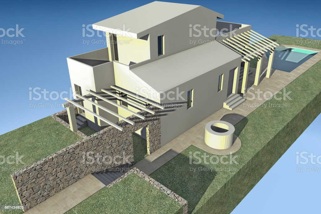 Rendering of a villa stock photo