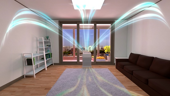 3D rendering of a white air cleaner making indoor air fresh all day in a closed room with a wood floor, a gray mat, a sofa, and bookshelves in a neat house with nice view of balcony.