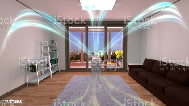Photo of 3D rendering of a white air cleaner making indoor air fresh all day in a closed room.