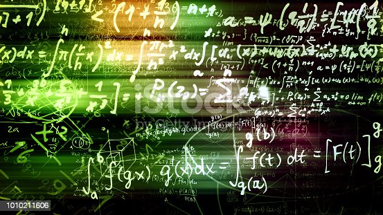 istock 3D rendering of abstract blocks of mathematical formulas located in the virtual space 1010211606