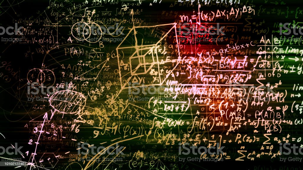 3D rendering of abstract blocks of mathematical formulas located in the virtual space stock photo