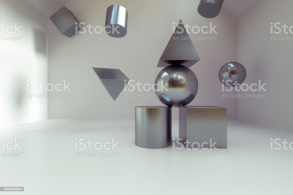 3D rendering of abstract polygon blocks stock photo