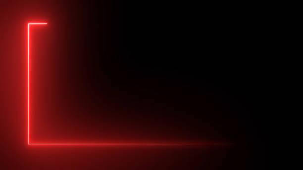 3d-rendering eines abstrakten hellen neonrechteckigen rahmens. lasertechnik hintergrunddesign - rot stock-fotos und bilder