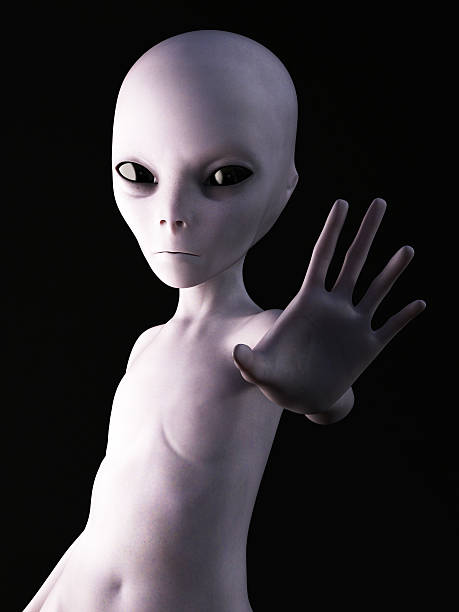 3D rendering of an alien. stock photo