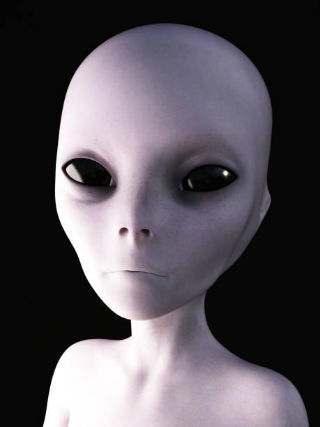3D rendering of an alien. stock photo