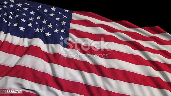 istock 3D rendering of an American flag. The flag is made on the basis of fabric, smoothly developing in the wind 1133380765