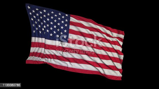 istock 3D rendering of an American flag. The flag is made on the basis of fabric, smoothly developing in the wind 1133380785