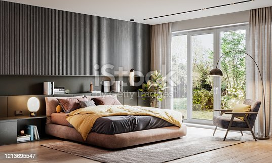 3D rendering of large bedroom. Computer generated image of a luxurious and elegant bedroom interiors.