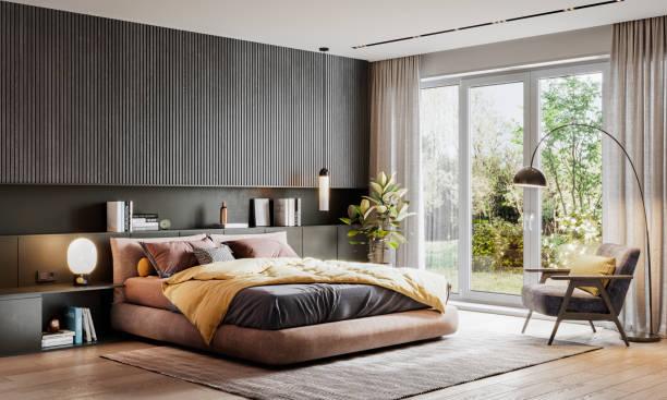 renderowanie 3d eleganckiej sypialni - luksus zdjęcia i obrazy z banku zdjęć