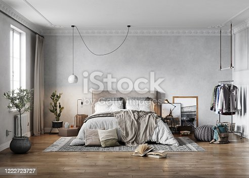 3D rendering of large old-fashioned bedroom. Computer generated image of a retro and elegant bedroom interior.