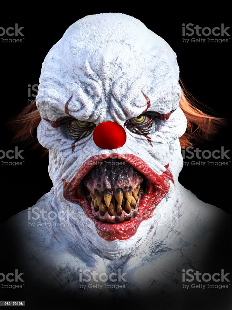 3D rendering of an evil looking clown. stock photo