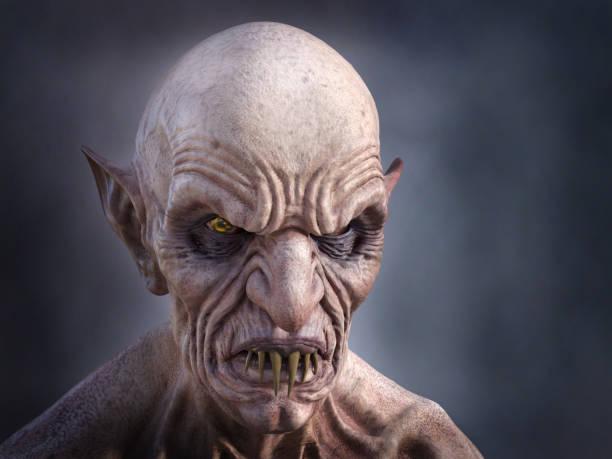 3D rendering of an evil looking vampire. stock photo