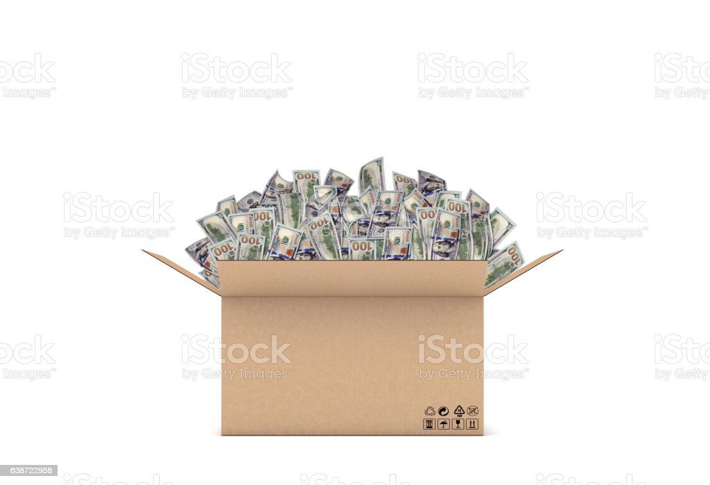 Rendering of an open carton box with many 100 dollar vector art illustration