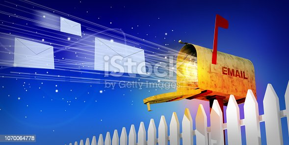 A 3D illustration of an open mailbox with envelope letters flying out of it against a blue night sky.