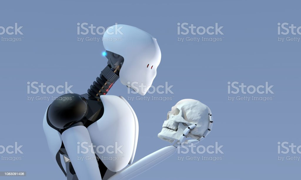3D rendering of artificial intelligence humanoid robot holding a human scull understanding evolution stock photo