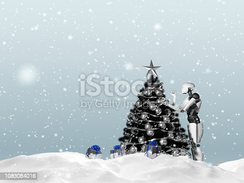1067810314 istock photo 3D rendering of artificial intelligence robot decorating a Christmas tree on a snowy day. Gift boxes can be seen. 1083084016